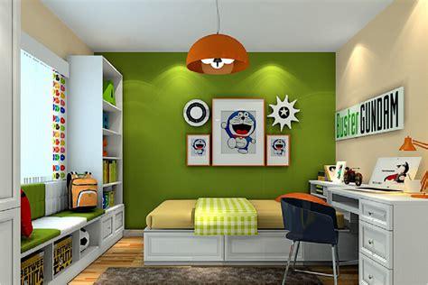 bedroom of children 3d green wall of children s bedroom