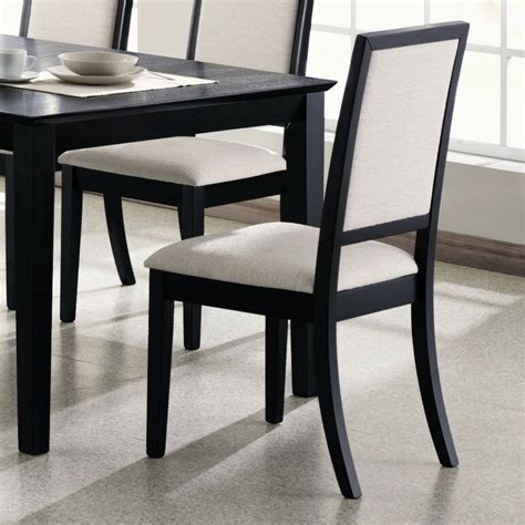 wooden dining side chair  cream upholstered seat
