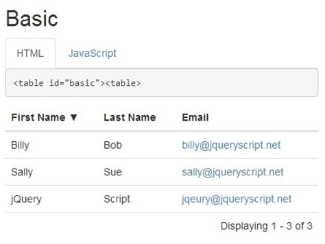 simple data grid table plugin with jquery and bootstrap