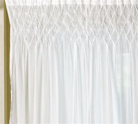smocked curtains smocked drape pottery barn