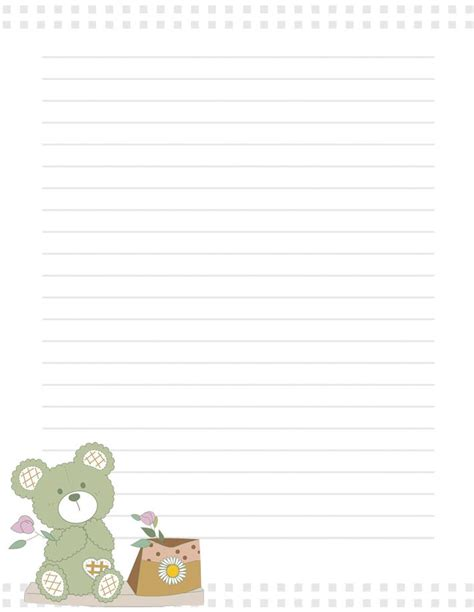 teddy writing paper free printable teddy with flowers writing paper