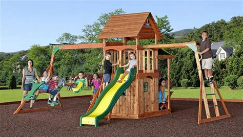 saratoga cedar swing set saratoga swing set 27559 jpg