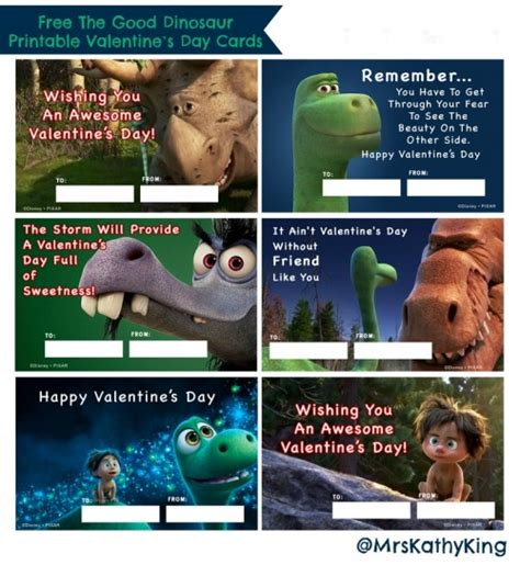 free thegooddinosaur printable valentine s day cards