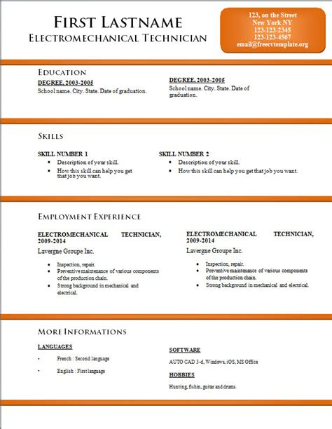word template resume cv word template free cv template dot org