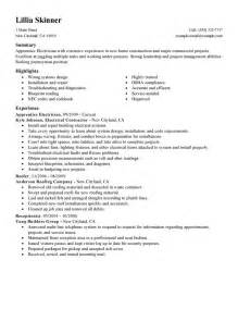 Resume Templates For Electricians by Electrician Apprentice Resume Free Resume Templates