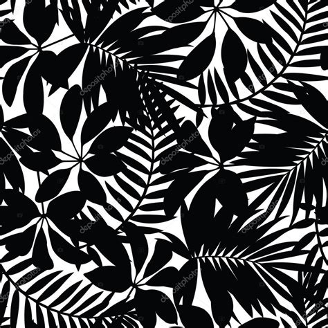 black and white leaf pattern black and white tropical leaves seamless pattern stock