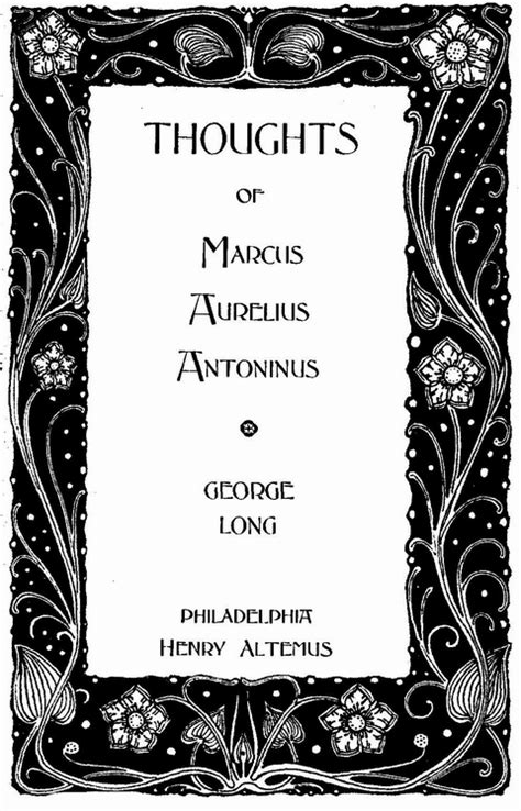 Front Pages For Projects The Thoughts Of The Emperor Aurelius Antoninus
