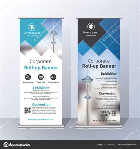 banner design resolution vertical roll up banner template design stock vector