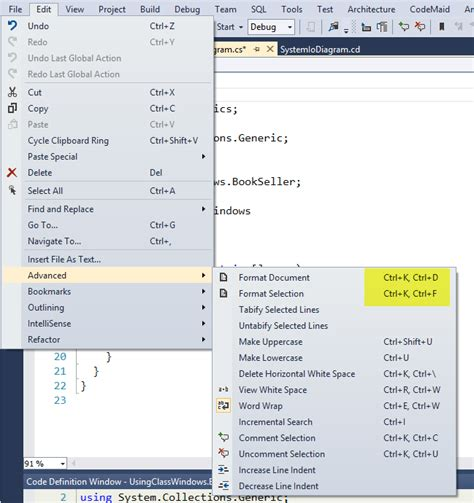 format file in visual studio visual studio 2012 how to auto format code indentations