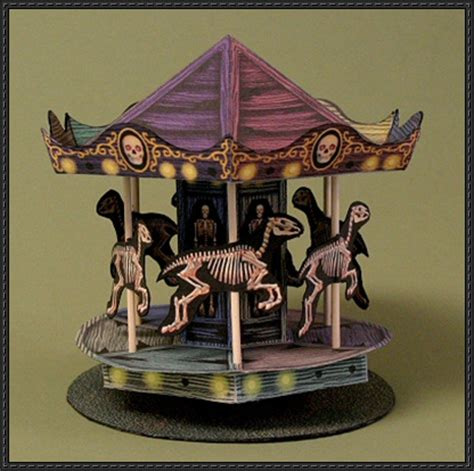 free carousel template haunted carousel free papercraft