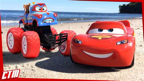 lightning mcqueen monster truck videos disney pixar cars toon mater monster truck lightning