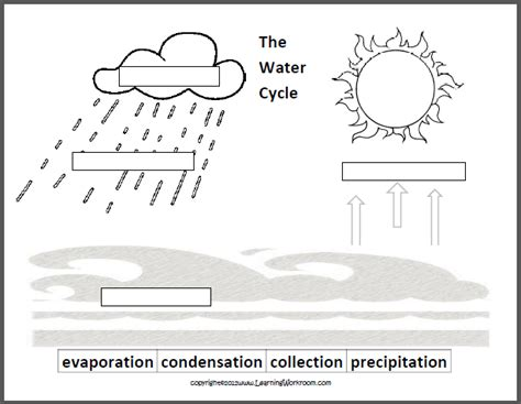 water cycle diagram worksheet learning ideas grades k 8 oceans and the water cycle