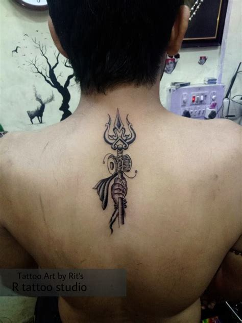 trishul tattoo black grey shiva trishul on back by r studio