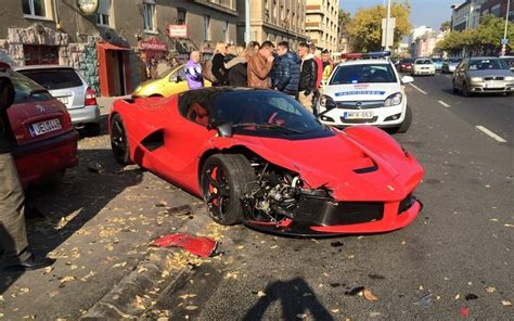 laferrari crash laferrari crash in hungary hits 3 parked cars