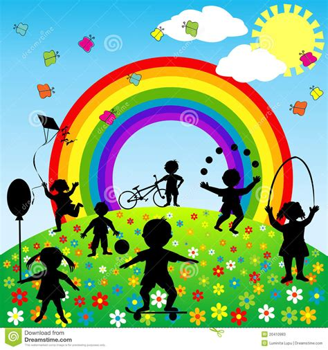 how to get to play in the background android background with children silhouettes stock illustration image 20410983