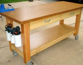 Garage Workbench Plans White Rolling Workbench With Quot Drill Holders Quot Diy