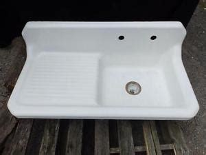 Cast Iron Kitchen Sink With Drainboard Antique Vintage Cast Iron Porcelain Farm Sink Kitchen Right Drainboard 3639 14 Ebay