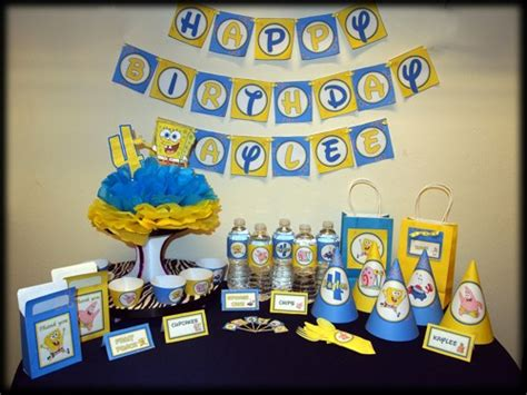free printable spongebob happy birthday banner printable diy spongebob birthday banner zoleesboutique