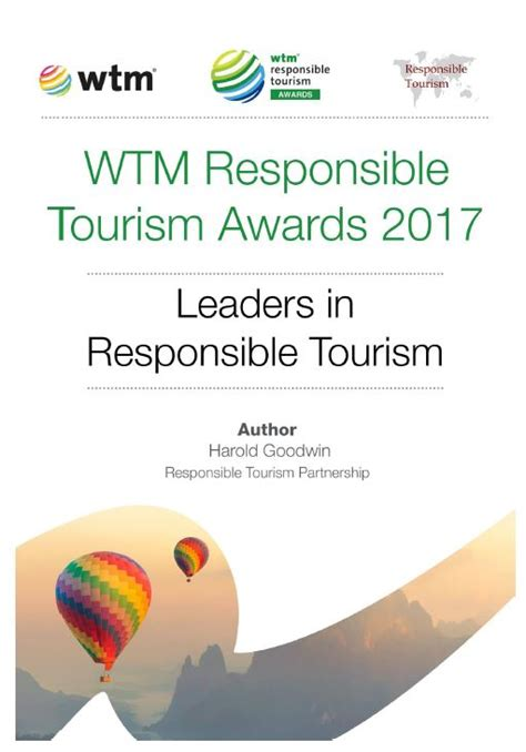 Win A With The Responsible Tourism Awards by Wtm Responsible Tourism Awards Responsible Tourism