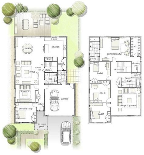 Two Storey 4 Bedroom 1 Study Guest 2 Living Rooms Love House Plans With Guest Wing Nz