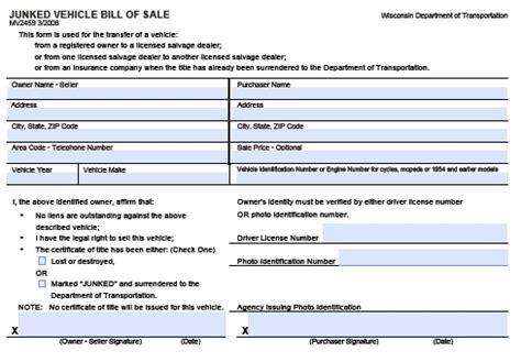 boat bill of sale wisconsin free wisconsin junked vehicle bill of sale mv2459 form