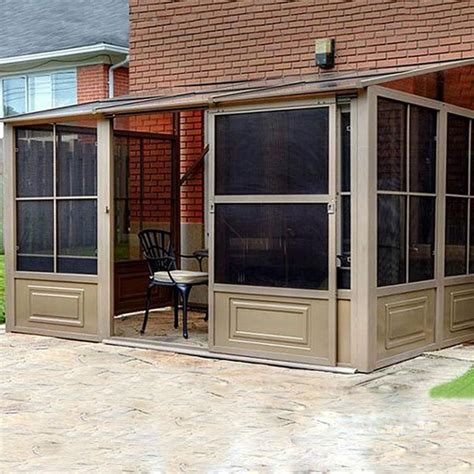add a room gazebo shop gazebo penguin brown metal rectangle screened gazebo exterior 12 ft x 7 8 ft foundation