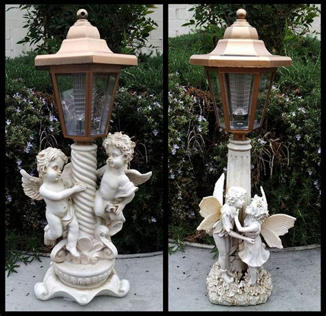 Outdoor Garden Decor Statues 2 Outdoor Garden Decor Solar Cherub Statue Sculpture Led Lights Ebay