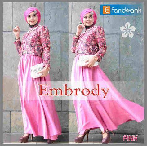 E1 140 Dress Sanghai Bahan Brukat embrody dress by efan pink baju muslim gamis modern