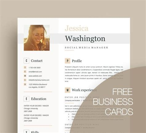 Free Resume Business Card Template by 84 Best Creative And Professional Resume Templates Images