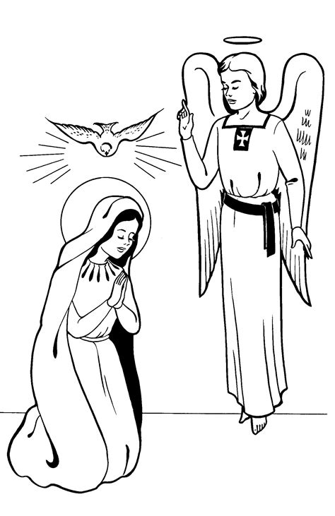 free coloring pages of mary and the angel