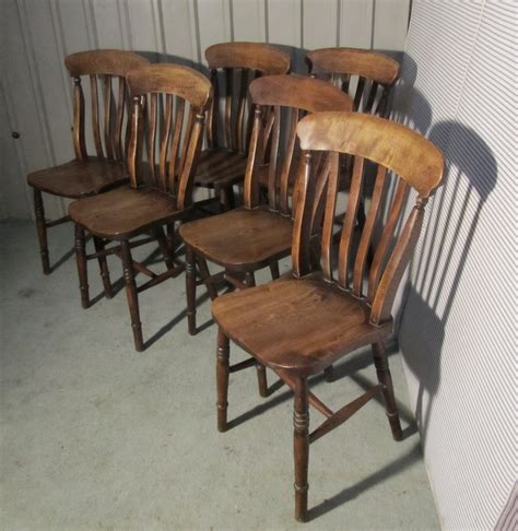 set 6 slat back farmhouse kitchen chairs