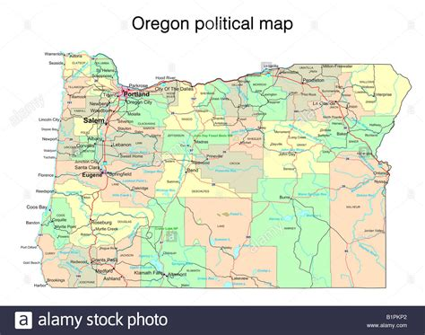 a political map of oregon oregon state political map stock photo royalty free image