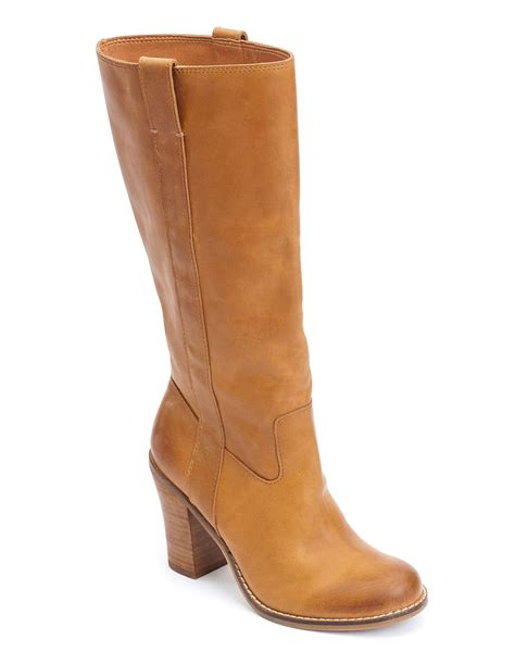 lucky brand maidie heel boots in beige tuscany lyst
