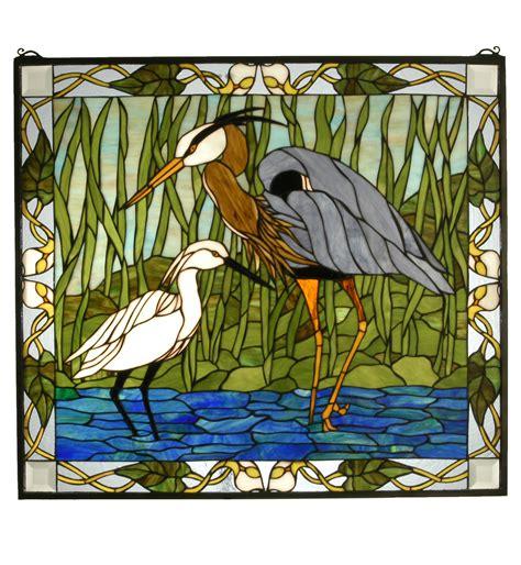 stained glass pattern blue heron meyda 62955 tiffany blue heron snowy egret stained glass