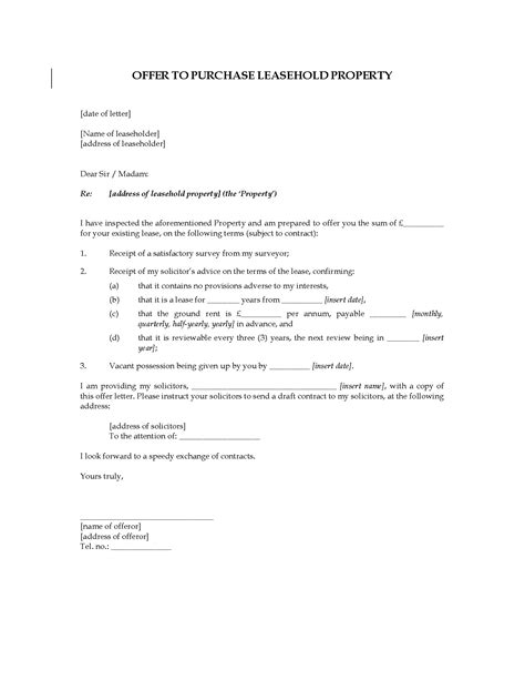 Offer Letter For Land Uk Letter Offer To Purchase Leasehold Property Forms And Business Templates Megadox