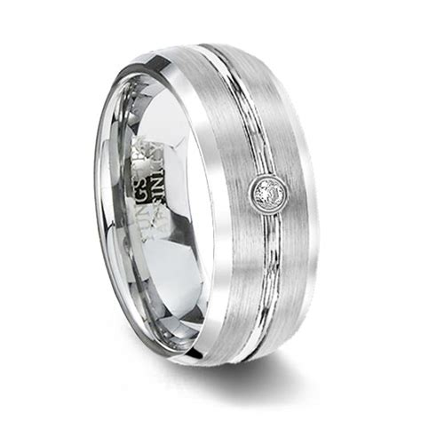 mens white tungsten wedding band with cz