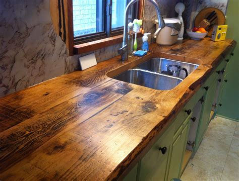 Wood Countertops Kitchen Awesome Live Edge Kitchen Counter Built With 2 Inch Thick Hemlock Floor Boards By Barnboardstore