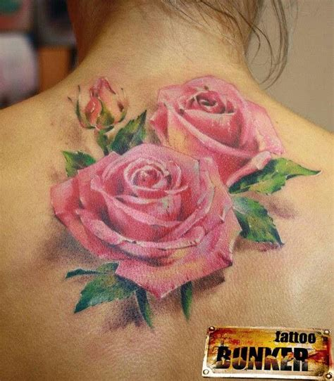 tattoos of roses on back pink back of neck tattoos
