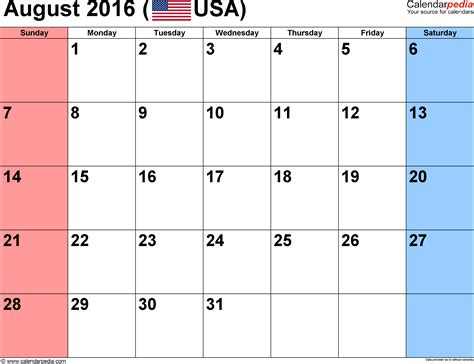 printable calendar 2016 july august september august 2016 calendars for word excel pdf