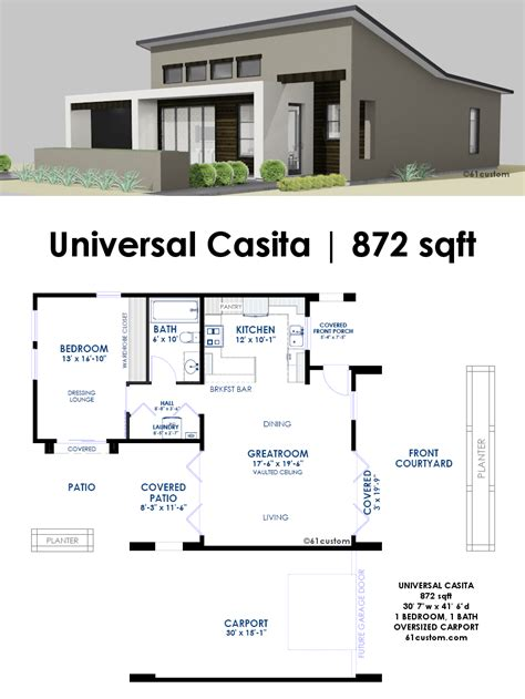 Contemporary Homes Floor Plans by Universal Casita House Plan 61custom Contemporary