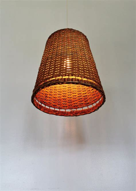 Wicker Light Fixture Wicker Basket Pendant L Ooak Upcycled Hanging Lighting Fixture M