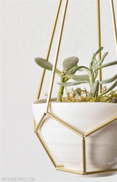 Brass Hanging Planter diy leather and brass teardrop hanging planter vintage revivals