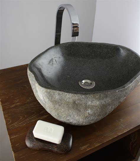 waschtisch natursteinbecken waschbecken aufsatz findling kiesel stein naturstein