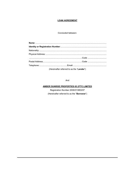 free printable loan contract template form generic