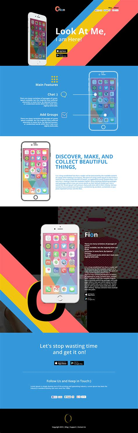 fion mobile app landing psd template creativecrunk