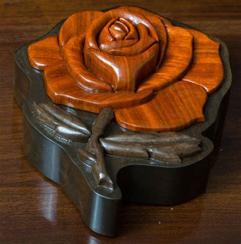 Industrial Chic Home Decor Custom Made Intarsia Rose Jewelry Box By Delta Black