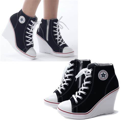 high heels converse tenis sneakers tacon wedge tipo converse envio gratis 3514