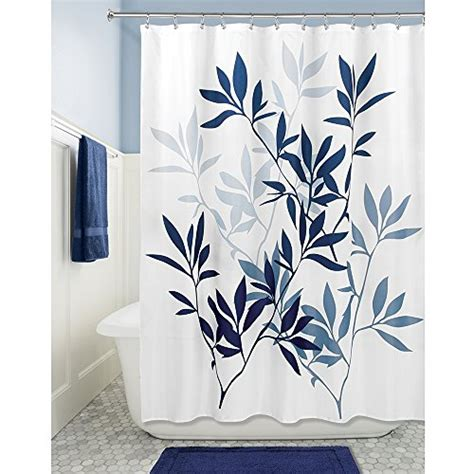 navy fabric shower curtain interdesign leaves soft fabric shower curtain 72 quot x 72