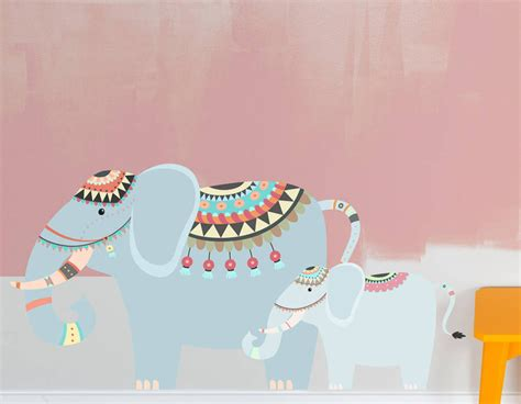 childrens wall stickers uk children s tribal elephants wall sticker contemporary