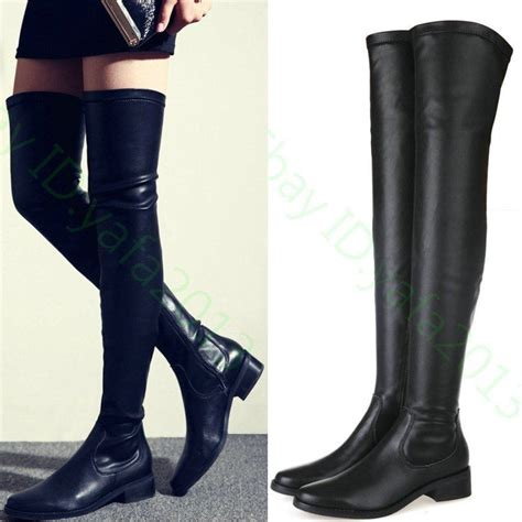 high motorcycle boots thigh high flat leather boots tsaa heel